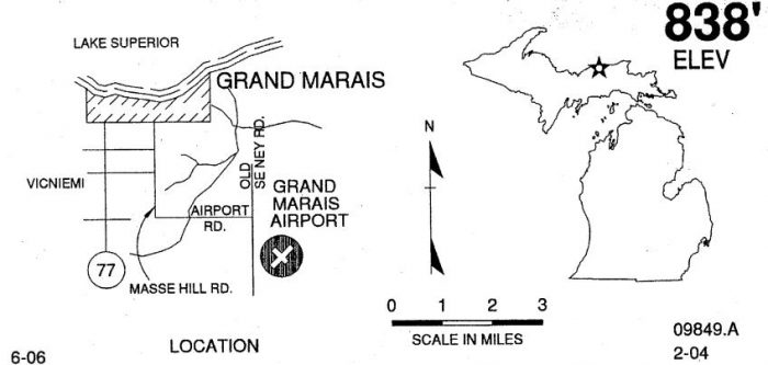 Grand Marais MI airport location